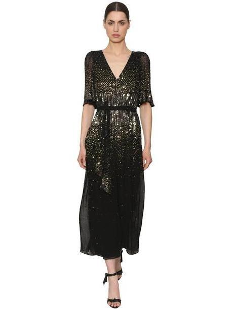 TEMPERLEY LONDON Sequined Wide Leg Jumpsuit in black / gold cover image
