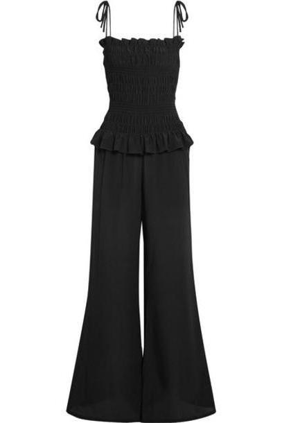 Tory Burch - Smocked Silk Crepe De Chine Jumpsuit - Black cover image