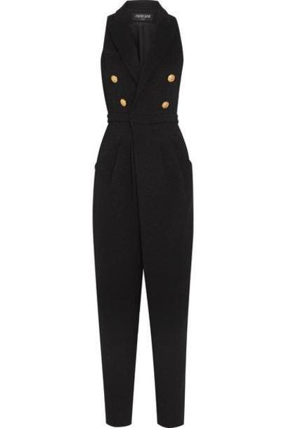 Balmain - Button-embellished Stretch-knit Jumpsuit - Black cover image