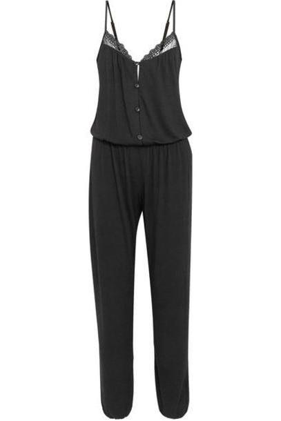 Eberjey - Lucie Lace-trimmed Stretch-modal Jersey Jumpsuit - Black cover image
