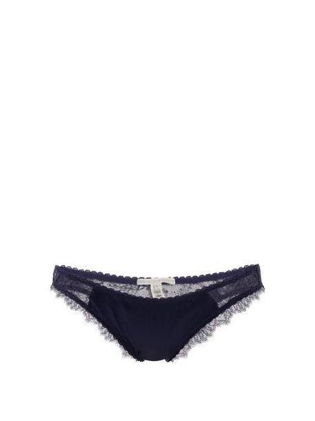 Stella Mccartney Lingerie - Gigi Giggling Lace And Silk Blend Briefs - Womens - Navy cover image