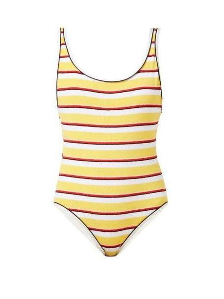 Solid & Striped - The Anne Marie Striped Terry Swimsuit - Womens - Yellow Stripe cover image