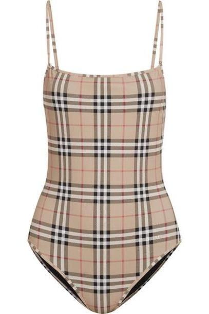 Burberry - Checked Swimsuit - Beige cover image