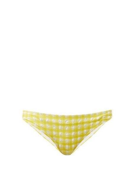 Ganni - Mahogany Checked Bikini Briefs - Womens - Yellow cover image