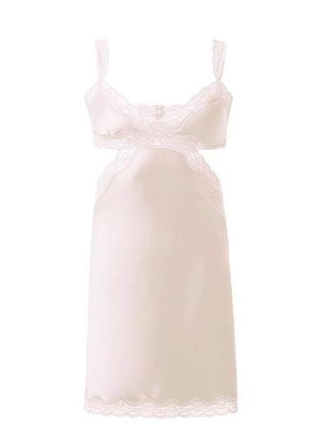 Stella Mccartney Lingerie - Clara Whispering Lace And Satin Chemise - Womens - Light Pink cover image