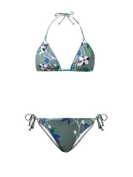 Thorsun - Alex Floral Print Triangle Bikini - Womens - Khaki Multi cover image