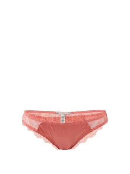Stella Mccartney Lingerie - Gigi Giggling Silk Blend And Lace Briefs - Womens - Pink cover image