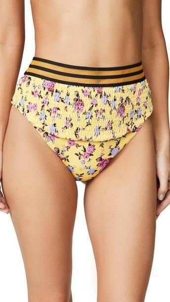 For Love & Lemons Paulina Ruched Bikini Bottoms in yellow cover image