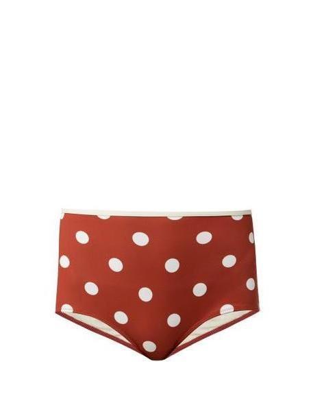 Solid & Striped - The Brigitte Polka Dot Bikini Briefs - Womens - Red Multi cover image
