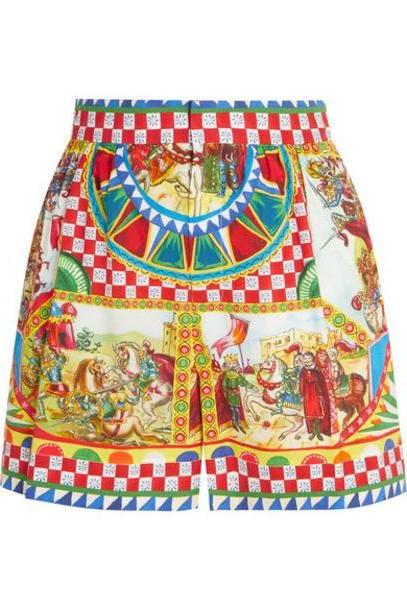 Dolce & Gabbana - Printed Cotton-poplin Shorts - Yellow cover image
