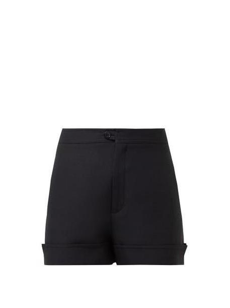 Valentino - Turned Up Cuff Virgin Wool And Silk Twill Shorts - Womens - Black cover image