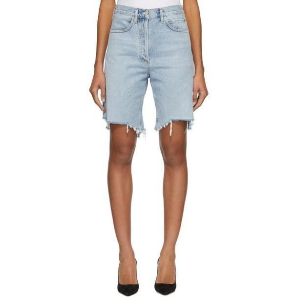 Agolde Blue Denim 90's Mid Rise Loose Shorts cover image