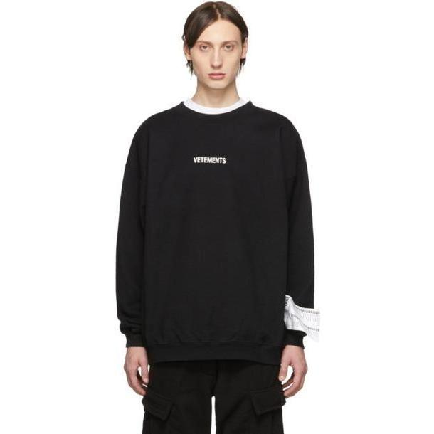 Vetements Black Inverted Logo Sweatshirt cover image