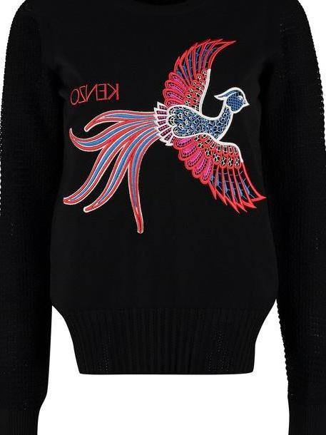 Kenzo Embroidered Crew-neck Sweater in black cover image