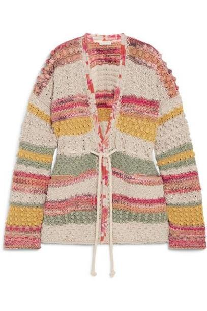 Etro - Silk Georgette-trimmed Striped Cotton And Linen-blend Cardigan - Yellow cover image