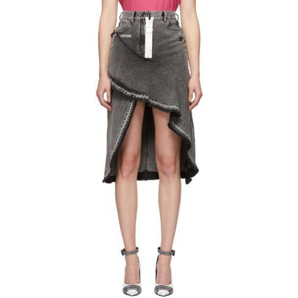 Off-White Grey Asymmetric Denim Skirt cover image