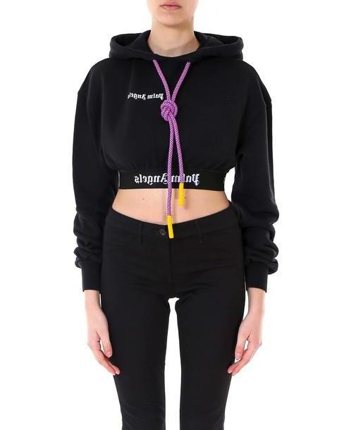 Palm Angels New Basic Cropped Hoody Sweatshirt in black cover image