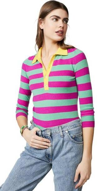 Jumper1234 Stripe Polo Cashmere Sweater in yellow cover image