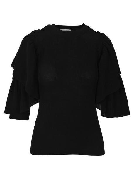 See by Chloé See By Chloe' See By Chloé Cold-shoulder Ruffle Sweater in black cover image
