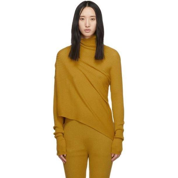 Marques Almeida Yellow Draped Jumper Turtleneck cover image