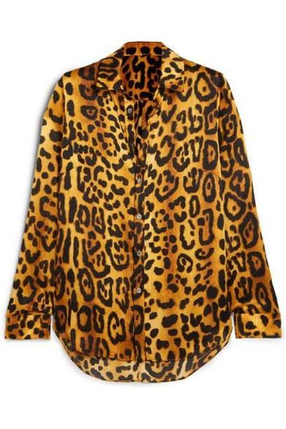 Adam Lippes - Leopard-print Hammered Silk-crepe Shirt - Brown cover image