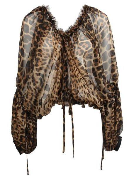Saint Laurent Paris Leopard Print Chiffon Blouse cover image
