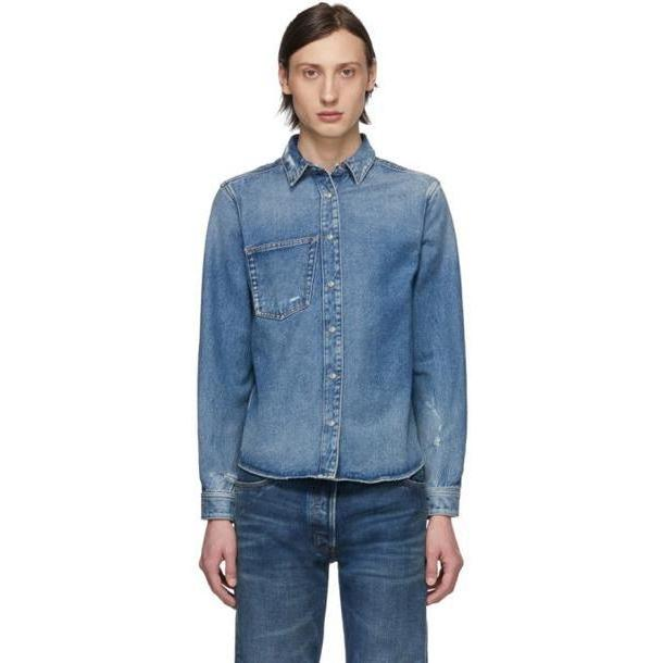 Balenciaga Blue Denim Rose Shrunk Shirt cover image