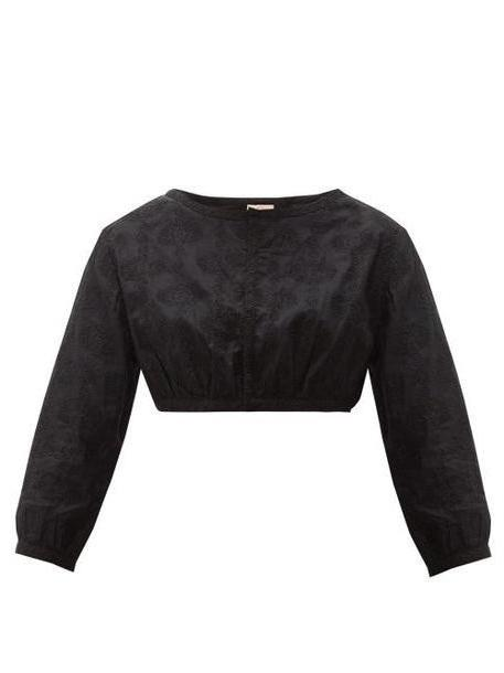 Le Sirenuse, Positano - Jinny Embroidered Cotton Crop Top - Womens - Black cover image
