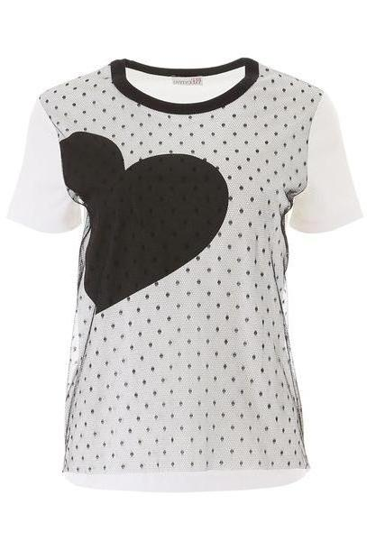 RED Valentino Plumetis T-shirt With Heart in nero / white cover image