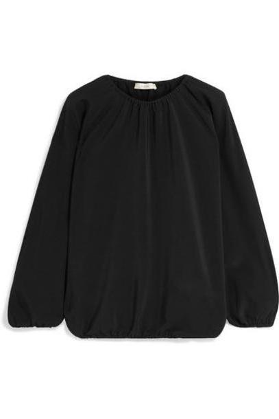 The Row - Rain Gathered Silk Crepe De Chine Blouse - Black cover image