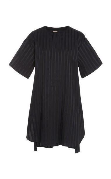 Adam Lippes Striped Cotton Tunic in black cover image