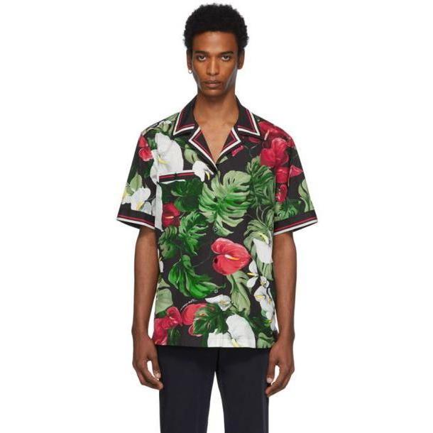 Dolce and Gabbana Dolce & Gabbana Black & Green Anthurium Hawaiian Shirt cover image
