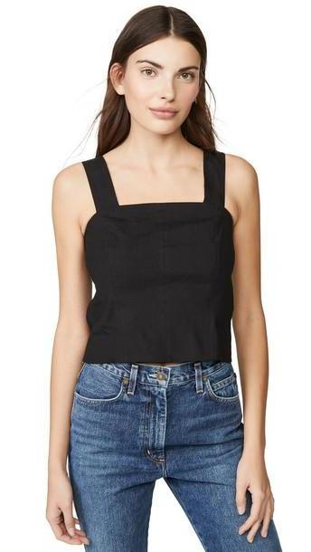 Vince Cropped Wide Strap Shell Top in black cover image