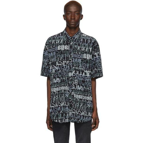 Balenciaga Black & Grey Silk Mixed Typo Shirt cover image