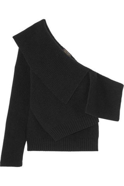 1fa68c36f210 Burberry - One-shoulder Ribbed Wool And Cashmere-blend Sweater - Black  cover image
