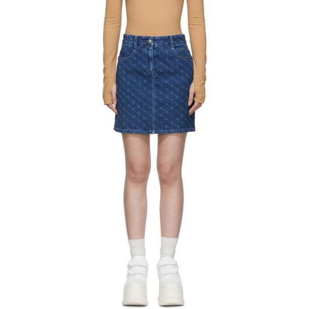 Stella McCartney Blue Denim Monogram Miniskirt cover image