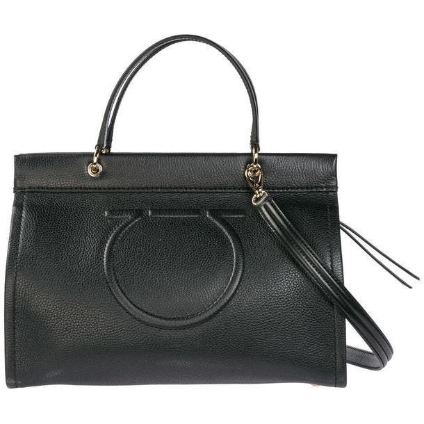 Salvatore Ferragamo Leather Handbag Shopping Bag Purse Gancini in nero cover image