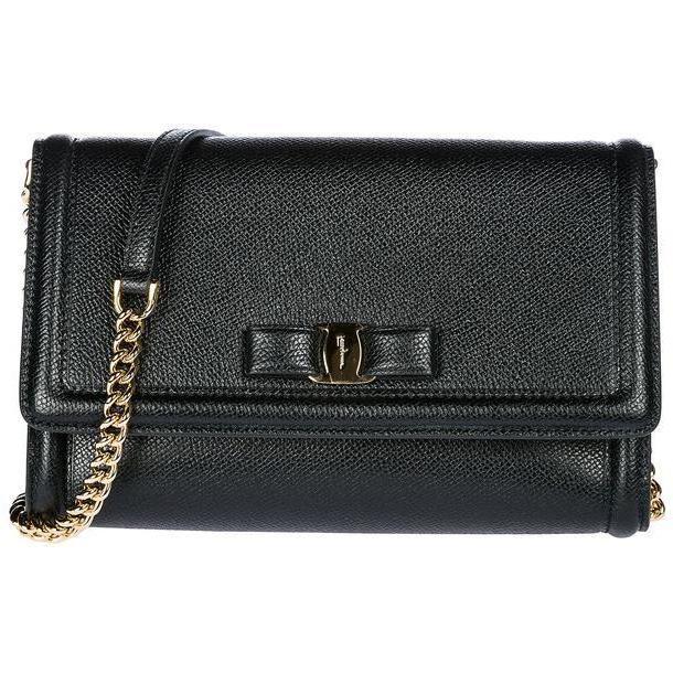 Salvatore Ferragamo Clutch With Shoulder Strap Handbag Bag Purse Vara in nero cover image