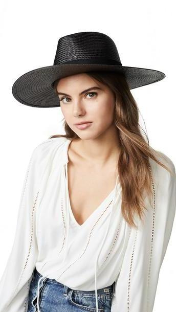 Rag & Bone Wide Brim Panama Hat in black cover image
