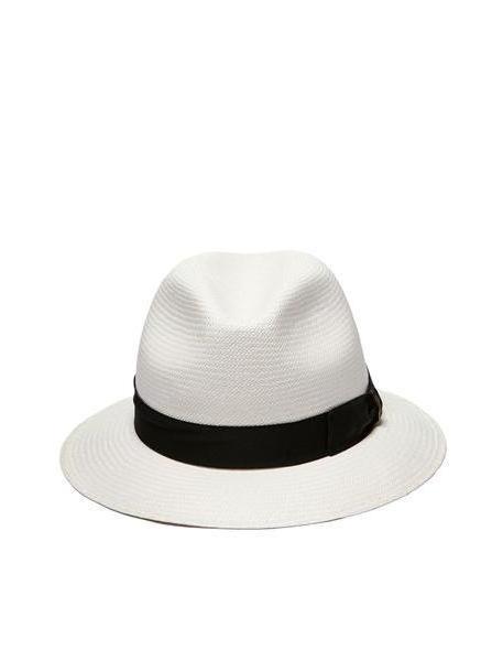 Borsalino Panama Fedora Hat in nero / bianco cover image