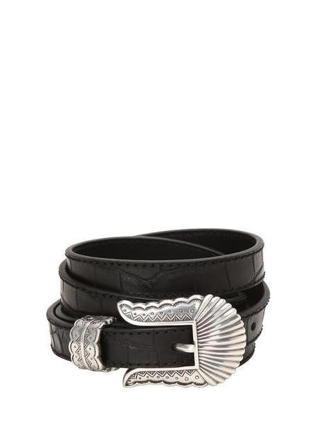 KATE CATE 19mm Thin Kim Nappa Croc Embossed Belt in black cover image