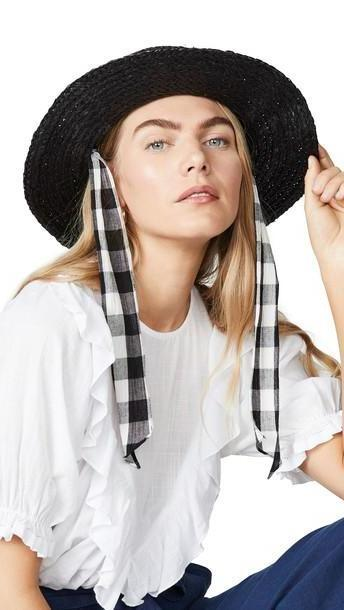Madewell Stampede Strap Straw Boater Hat in black cover image