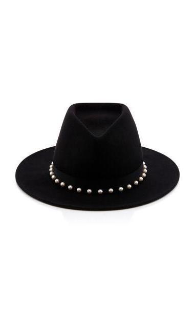 Eugenia Kim Blaine Peal Embellished Black Wool Felt Fedora cover image