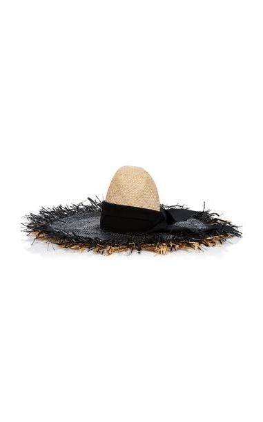 ec804bc08a2 Gigi Burris Midnight Sun Ribbon-Trimmed Frayed Straw Sunhat in black /  white cover image