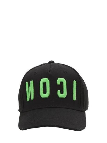 DSQUARED2 Icon Cotton Canvas Baseball Hat in black / green cover image