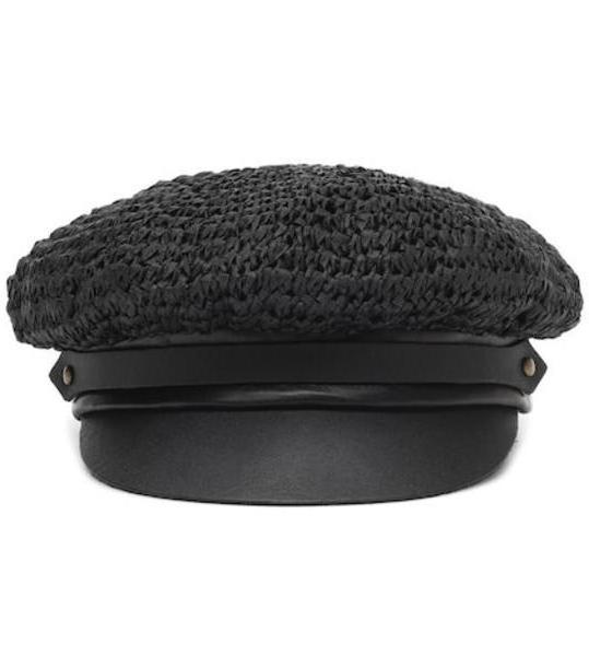 Lola Hats Chauffeur raffia and leather hat in black cover image