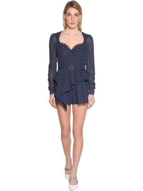 SELF-PORTRAIT Plumetis Techno Georgette Romper in blue cover image