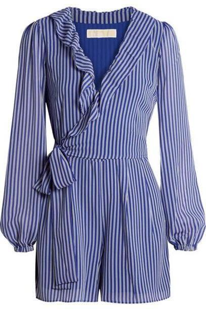 MICHAEL Michael Kors - Wrap-effect Ruffled Striped Georgette Playsuit - Blue cover image