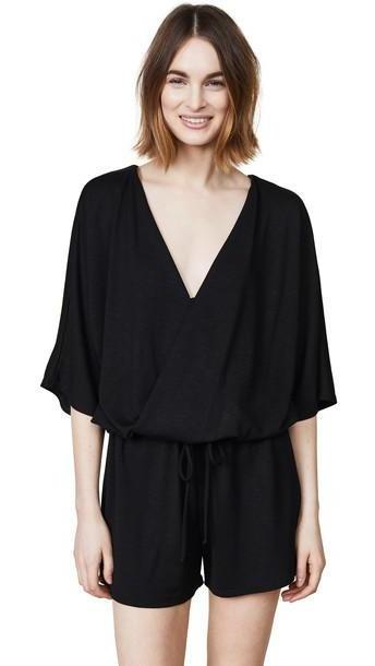 Lanston Surplice Romper in black cover image