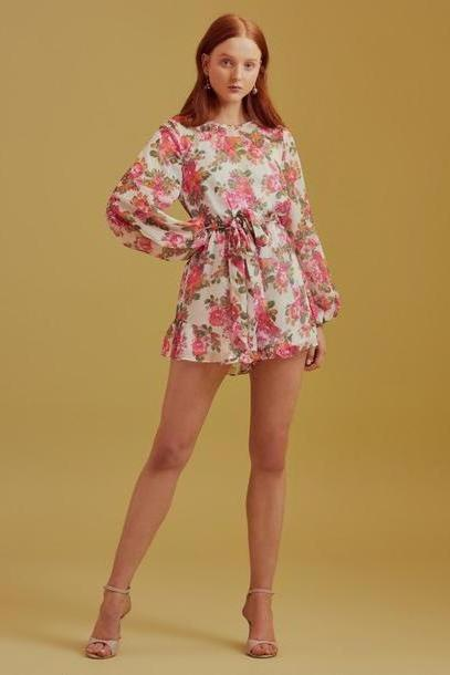 KEEPSAKE OBLIVION LONG SLEEVE PLAYSUIT ivory rose floral cover image